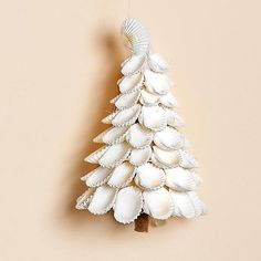 Set of Three - 3 inch White Shell Tree Ornaments are made from natural white Arc sea shells. Ornament has a little wooden trunk and hangs from a clear hanger. Also sold individually. (R-STAR) Seashell Ornaments, Seashell Art, Seashell Crafts, Beach Crafts, Holiday Ornaments, Holiday Crafts, Seashell Decorations, Christmas Decorations, Diy Ornaments
