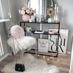 fashion, pink lips DIY Makeup Room Ideas, Organizer, Storage and Decorating Glam Bedroom, Room Ideas Bedroom, Teen Bedroom, Bedroom Decor, Fashion Bedroom, Bedrooms, Fashion Decor, Design Bedroom, 1980s Bedroom