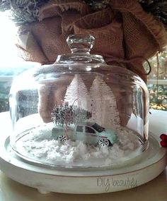 Vintage Inspired Christmas Cloche made with dollar store items at… Christmas Jars, Christmas Love, Country Christmas, All Things Christmas, Vintage Christmas, Christmas Holidays, Christmas Ideas, Christmas Vignette, Christmas Cheese