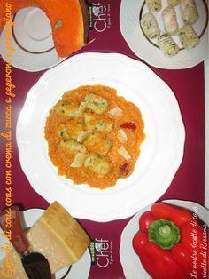 Gnocchi di cous cous con crema di zucca, peperoni e parmigiano reggiano