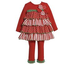 ed16e6f8f52 Bonnie Jean Girls Mixed-Media Tiered Holiday Dress Legging Outfit , Red ,  24 Months