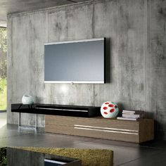 Gramercy TV Stand in Walnut/Black Combination  By Ted Toledano