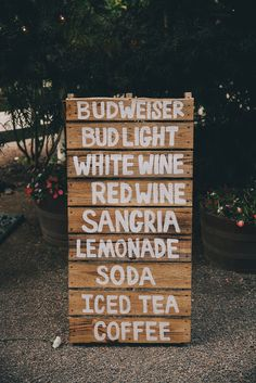 hand painted bar menu. great if your going for that rustic country or even beach setting