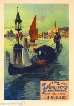 Paris-to-Venice-Italy-Vintage-France-Travel-Poster-Picture-Print-Advertisement