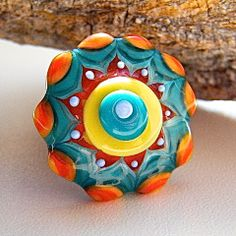 Flower Power Glass Ring TopIV by Caroline Dousi by carolinedousi, $39.50