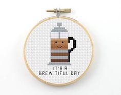 It's a brewtiful day cross stitch pattern, coffee pun pattern, modern cross stitch, coffee pdf pattern, funny cross stitch, beautiful day