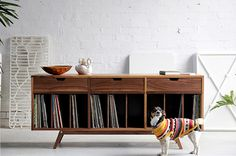 Introducing 'The Collector'. A handsome who enjoys nothing more than keeping your beloved safe and orderly. Vinyl Record Cabinet, Record Shelf, Vinyl Record Storage, Living Room Upgrades, Snug Room, Design Studio Office, Home Studio Music, Piano Room, Audio