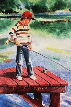 """First time Fishing 8X10 watercolor Painting Art print by Barry Singer - Young Boy fisherman on a dock cottage décor. First Time Fishin'............ I've made myself a fine fishing pole, And I'm going fishing today. I'll run lickity-split to the ol' fishing hole. """"Mother, make the pan hot!"""" I'll say. I'm going to catch a fish! Hurray! He'll be so big he'll pull me in. (Oh, no!) We'll be eating that fish today! """"Mother, quick! Make sure the pan is Hot! Hot! Hot!"""" I'll cast my line with all…"""