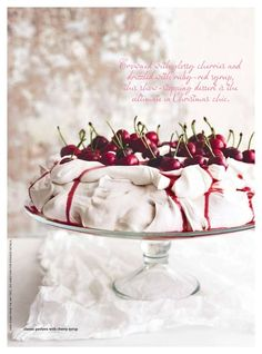 """I'm not sure what pavlova is. but those cherries look delicious! """"classic pavlova with cherry syrup"""" Meringue Pavlova, Meringue Food, Cherry Syrup, Cupcake Cakes, Cupcakes, Desert Recipes, Christmas Baking, Christmas Pudding, Macarons"""