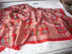 Scarf, vintage, silk, red, Ginnie Johansen