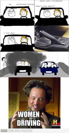 Women driving...