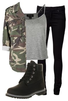 """""""Untitled #1309"""" by countrykids ❤ liked on Polyvore featuring Naked & Famous, Topshop, Glamorous and Timberland"""