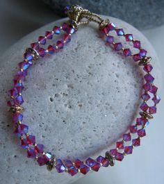 Purple Swarovski Crystal Bead Bracelet by LittleCottageAttic