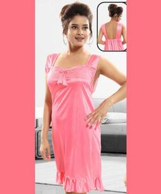 Buy Women's Satin Solid Latest Night Gown (Code: online from Me shop Womens Nighties, Rock Bottom, Prom Dresses, Formal Dresses, Late Nights, Night Gown, Kurti, I Shop, Satin