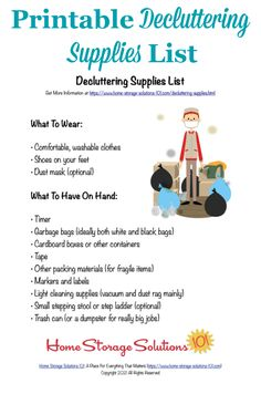 Here is a free printable decluttering supplies list that you can reference when you're doing the Declutter 365 missions to declutter your entire home over the course of one year {courtesy of Home Storage Solutions 101} #DeclutteringSupplies #Declutter365 Household Notebook, Household Tips, Used Cardboard Boxes, Trash Day, Black And White Bags, Storage Tubs, Clutter Control, Home Storage Solutions, Deep Cleaning