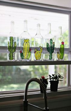 DIY Faux Stained Glass Bottles. Style inspiration. Please choose vegan art supplies