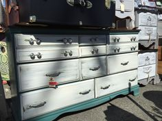 Massive, beautifully painted and distressed 9-drawer dresser! As seen today at Shabby Restore (www.shabbyrestore.com) at the Treasure Island Flea in San Francisco. #shabby #restore