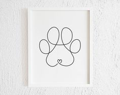 Dog Paw Drawing, Dog Line Drawing, Dog Line Art, Paw Print Drawing, Paw Print Art, Dog Paw Art, Paw Prints, Drawing Hair, Drawing Faces