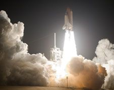 Launch of Space Shuttle Discovery, Mission STS-128, just before midnight on Aug. 28, 2009.