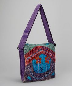 Love this Purple & Blue Flower Island Crossbody Bag on #zulily! #zulilyfinds
