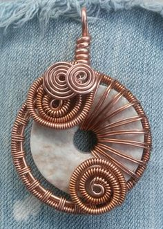 Copper Freeform Wire Wrap Pendant with Peach and Grey Rough Cut Marble Wire Wrapped Jewelry Handmade Rustic: