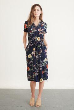 Lou Silk Dress (Navy Garden) – Occasion – Amour Vert