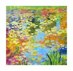 Water lily pond painting abstract impressionist autumn colors pondscape canvas Original acrylic painting 24 X 24 by Garima Parakh