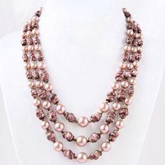 Rose Marsala 3-Strand Bead Choker Necklace Hong Kong