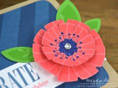 Funky Floral stamps and notched flower die... love the blue heart.