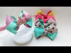 YouTube Kanzashi Tutorial, Bow Tutorial, Headband Hairstyles, Pretty Hairstyles, Baby Crafts, Diy And Crafts, Ribbon Bows, Ribbons, Clip