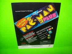 Midway PAC MAN PLUS 1982 Original Video Arcade Game Machine Promo Sales FLYER #PacmanPlus