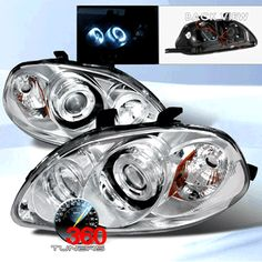 96-98 Honda Civic Dual Halo Projector Headlights with Amber Reflectors - Pair (Chrome/Clear)