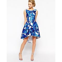 Chi Chi London High Low Full Prom Dress In Large Blue Floral ($68) ❤ liked on Polyvore