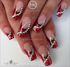 Luminous Nails: Glittery Red Christmas Nails With Swarovski Crystals. Christmas Gel Nails, Christmas Nail Art Designs, Holiday Nails, Swarovski Nails, Crystal Nails, Swarovski Crystals, Gem Nails, Bling Nails, Gorgeous Nails