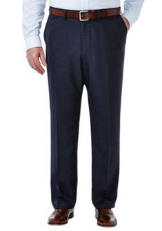 Haggar Blue Big and Tall Travel Performance Classic Fit Tic Weave Suit Pants