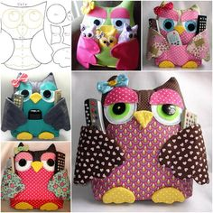 DIY Cute Fabric Owl Pillow with Free Pattern: Sew Owl Pillow Pattern, Owl Cushion, Remoter Owl Snuggle, Owl craft ideas for Home Decor