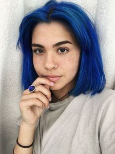 Preferred Hair Blue Hair Wig of Human Hair with Baby Hair Brazilian Ombre Lace Front Wig Short Bob Wigs for Women