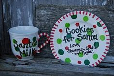 Cookies for Santa plate.  So easy.  Dollar Tree plate and coffee mug, use acrylic paints or paint pens.