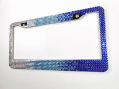 Blue Rhinestone License Plate Frame, 7 Row Blue Fade Ombre Bling Plate Frame + Screw Cap Covers, Crystal Car Accessory, By Bling Car Decor by BlingCarDecor on Etsy https://www.etsy.com/listing/237705607/blue-rhinestone-license-plate-frame-7