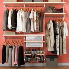 *hang shelf from ceiling the length of closet (also use wall brackets), attach clothes rod under top shelf or from wall brackets - 1/2 way down attach another shelf 1/2 to 2/3 length of top shelf (remainder left open for full length hanging items), repeat rod under this shelf - use bookcase for folded items/boots - attach upper crown molding for heels/shoes - low chest/dresser or open kitchen cabinet for floor storage under hanging clothes *OR* build floor rack from pipe & shelving