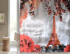 Get Orange Eiffel Tower Polyester Shower Curtain Bathroom Window Hangings Drapes Living Room Bedroom Curtain72inch *** For more information, visit image link. Note:It is Affiliate Link to Amazon.