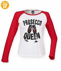 Damen Raglan Baseball T Shirt PROSECCO Queen Funny Wine Mode Ladies von  Buzz Shirts (*