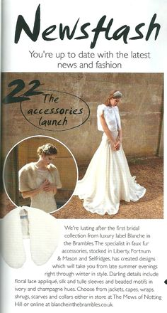 Blanche in the Brambes bridal faux fur collection as featured in Wedding Magazine - The Wedding List