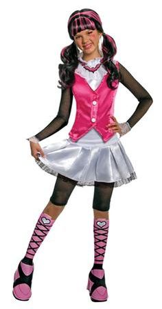 Monster High Deluxe Draculaura Girls #costume includes shirt with attached vest, skirt, leggings and boot tops. Our Monster High Deluxe girls costume will be a hit at any Halloween party or trick-or-treating adventure. Everyone will rave about this girl Deluxe Monster High Draculaura costume, which is the perfect costume for a Monster High Fan. Additional Monster High Character Costumes and Accessories are available and sold separately.