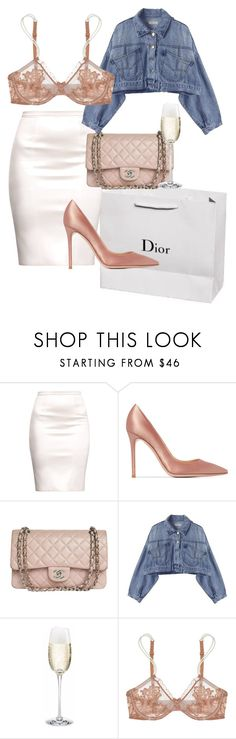 """samantha jones"" by fairybisous ❤ liked on Polyvore featuring Gianvito Rossi, Chanel and La Perla"