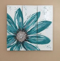 Wood Pallet Projects This original flower painting is a turquoise daisy and is hand painted on reclaimed and repurposed wood pallet boards. Arte Pallet, Pallet Art, Pallet Boards, Pallet Ideas, Pallet Walls, Pallet Signs, Wood Pallets, Wood Signs, Pallet Benches