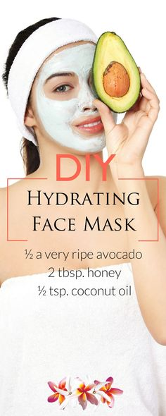 DIY Spa Day at Home - DIY Hydrating Avocado Face Mask Directions: Mash or puree the avocado until it's smooth and creamy - Homemade Face Masks, Homemade Skin Care, Diy Skin Care, Skin Care Tips, Piel Natural, Natural Face, Natural Skin Care, Natural Beauty, Pure Beauty