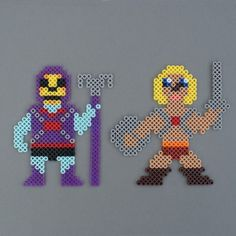 He-Man & Skeletor Masters of the Universe Perler Characters magnet  by HarmonArtire