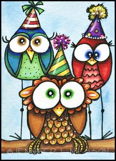 ACEO Print Somebirdy's Birthday whimsical bird