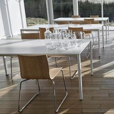White Laminate in use with Thin Dining Chair Dining Table Chairs, Dining Room, Tord Boontje, Fluid Design, White Laminate, Shape And Form, Carafe, Shades Of Green, The Help